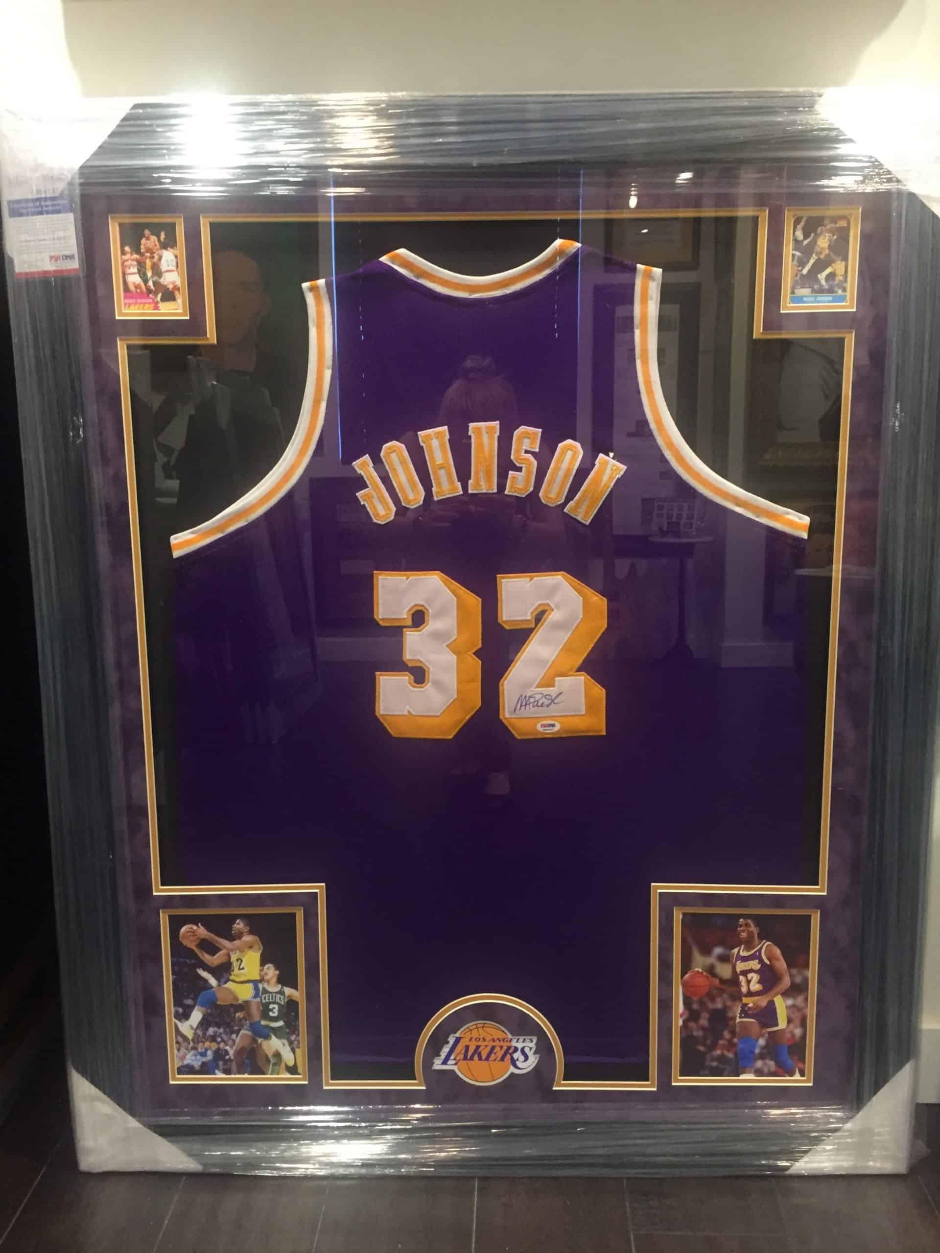 size 40 d954a a1486 MAGIC JOHNSON AUTHENTIC AUTOGRAPHED NBA JERSEY FRAMED PIECE ...